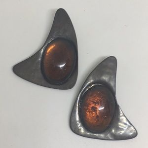 Retro Modernist Silver Tone Cabochon Earrings